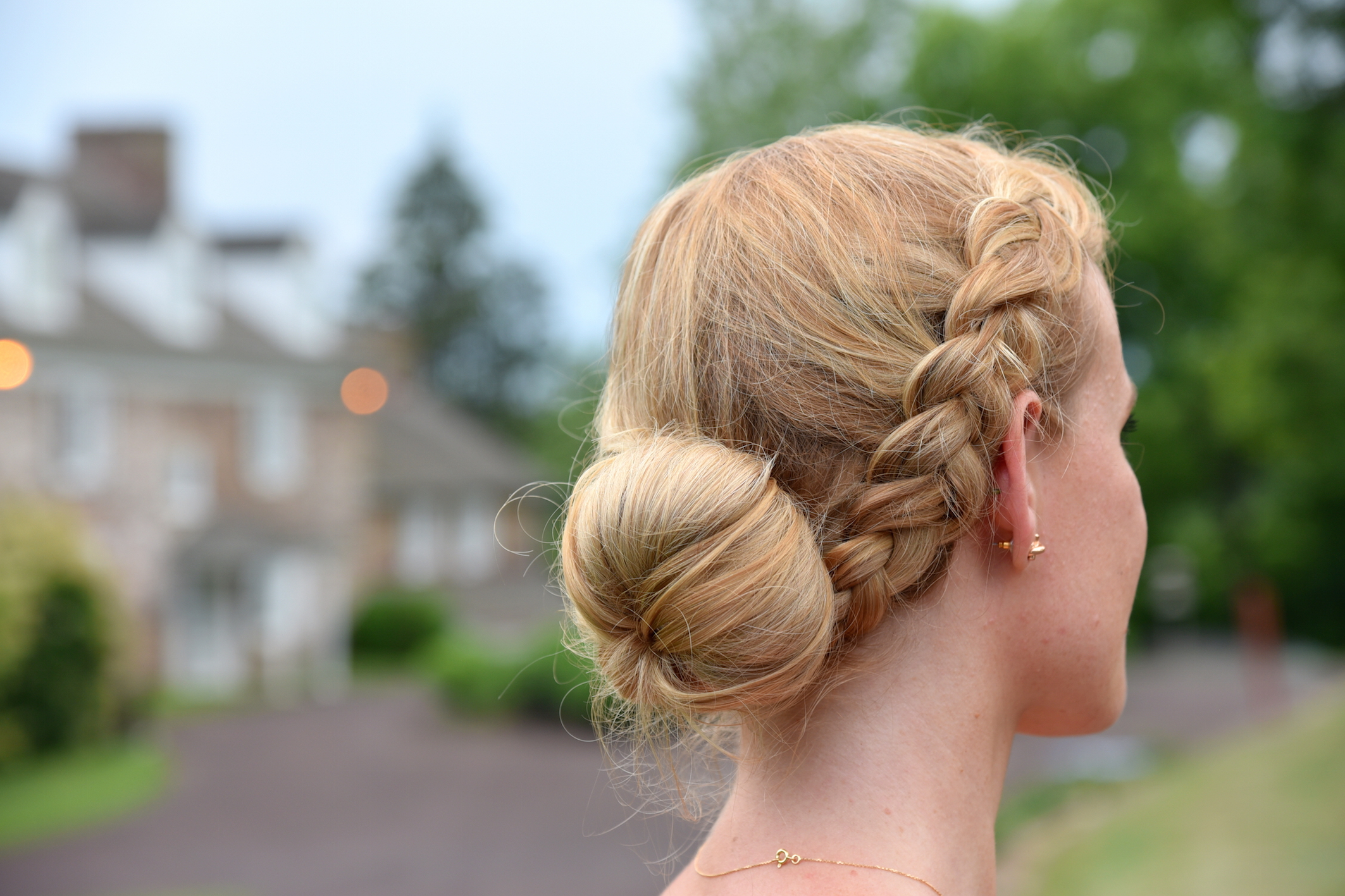 Braided Bun Summer Wedding Hairstyle Fashion blogger