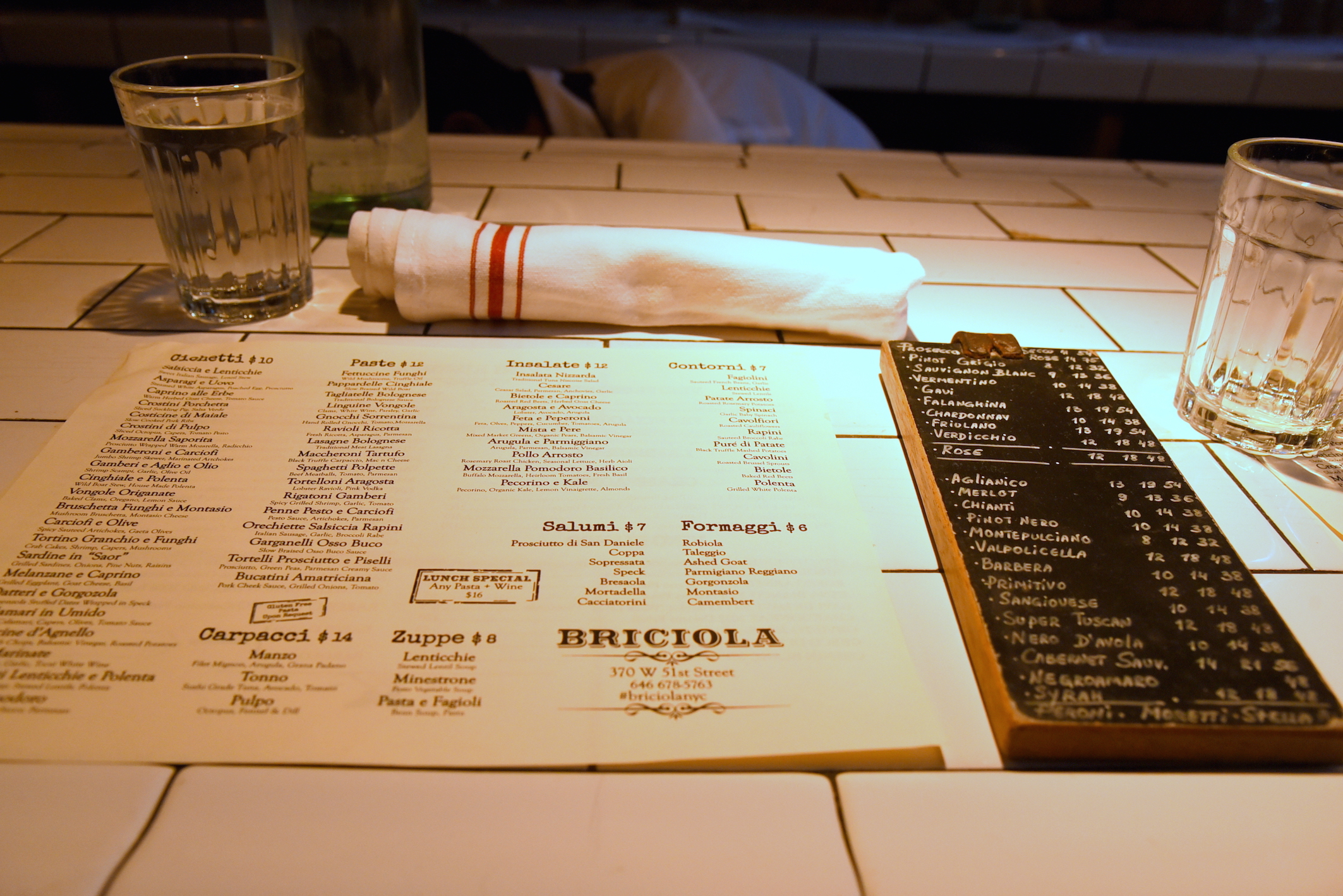 Dinner menu Briciola NYC foodie lifestyle blogger