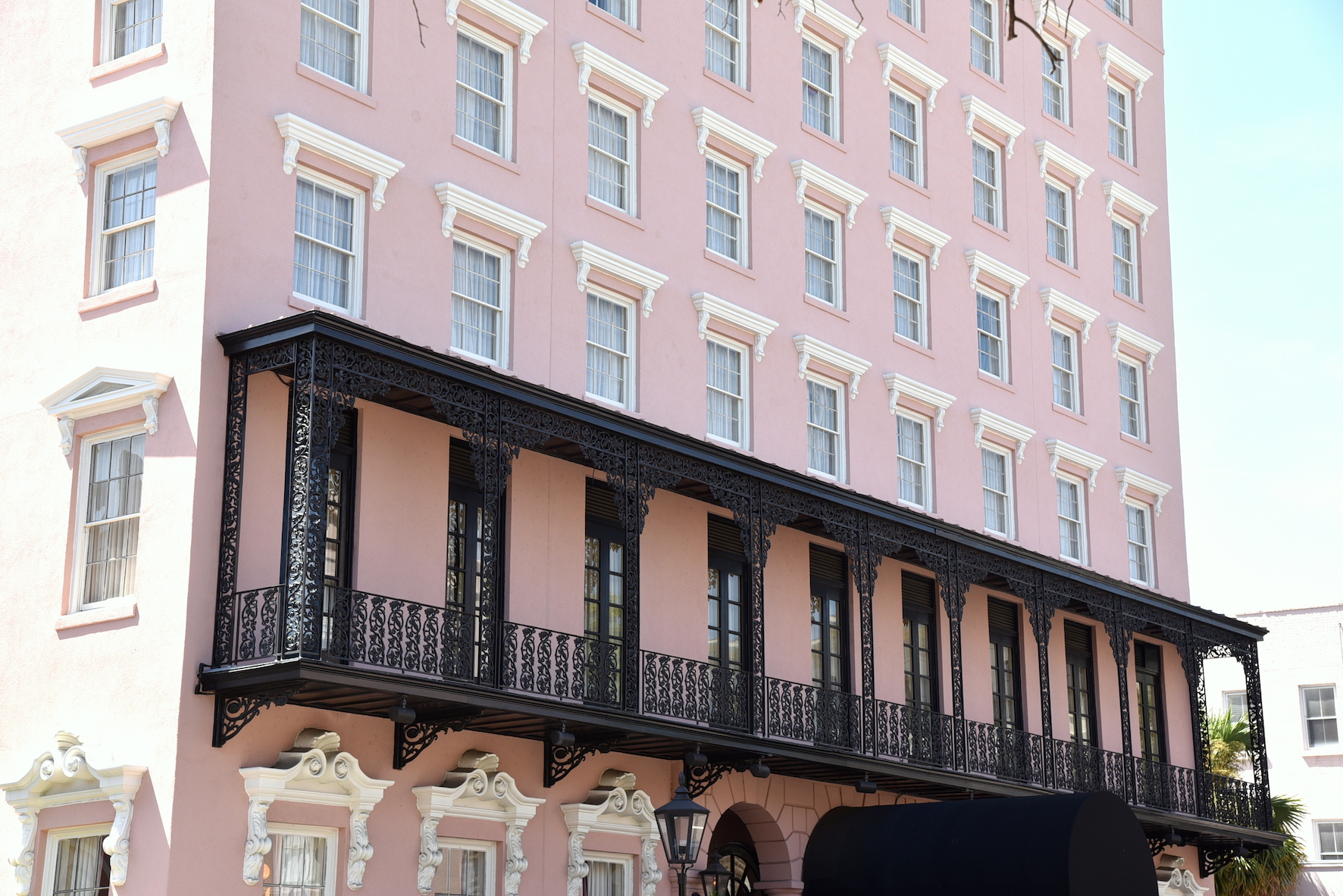 Pastel pink of the Mills hotel in Charleston South Carolina