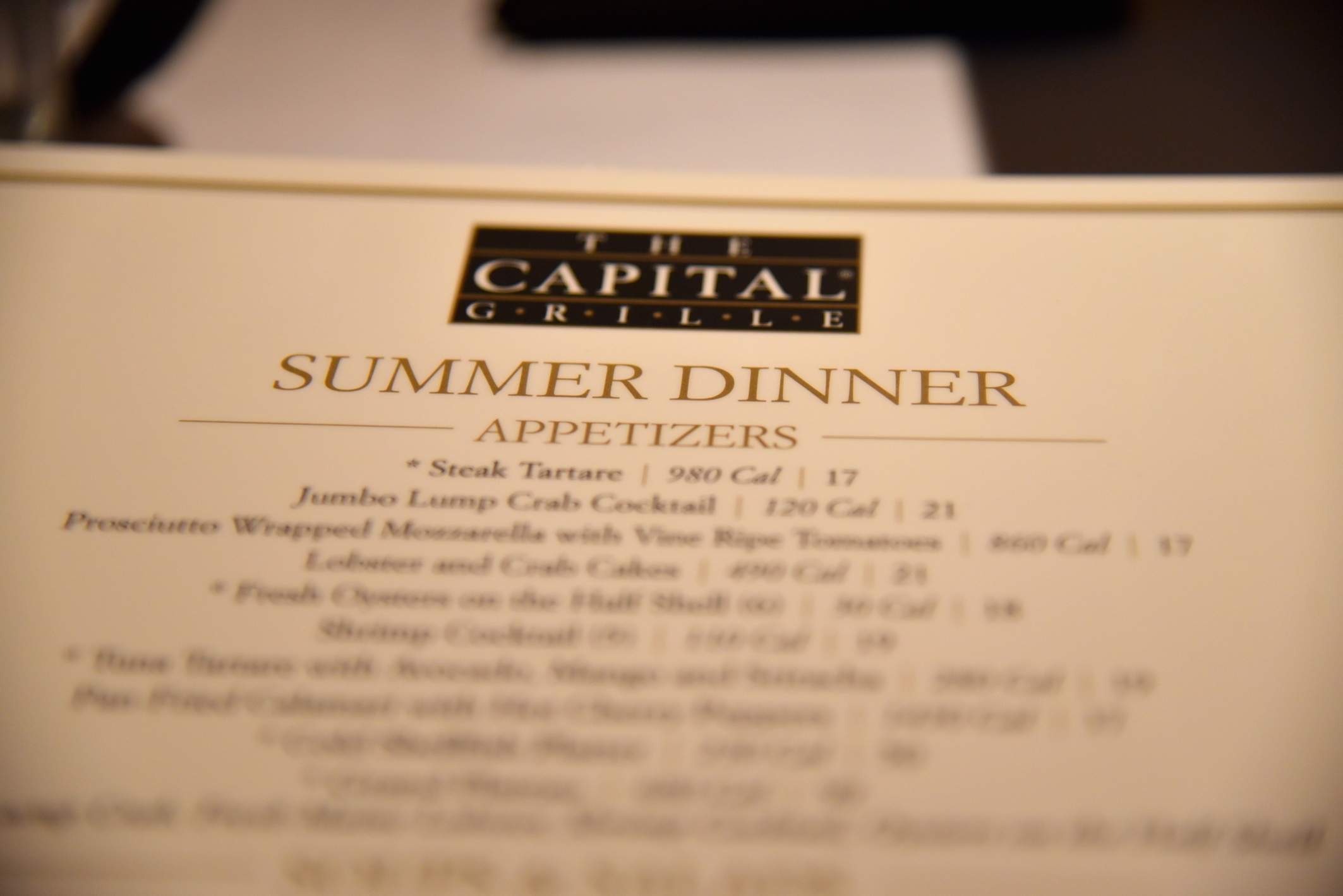 The Capital Grille NYC menu