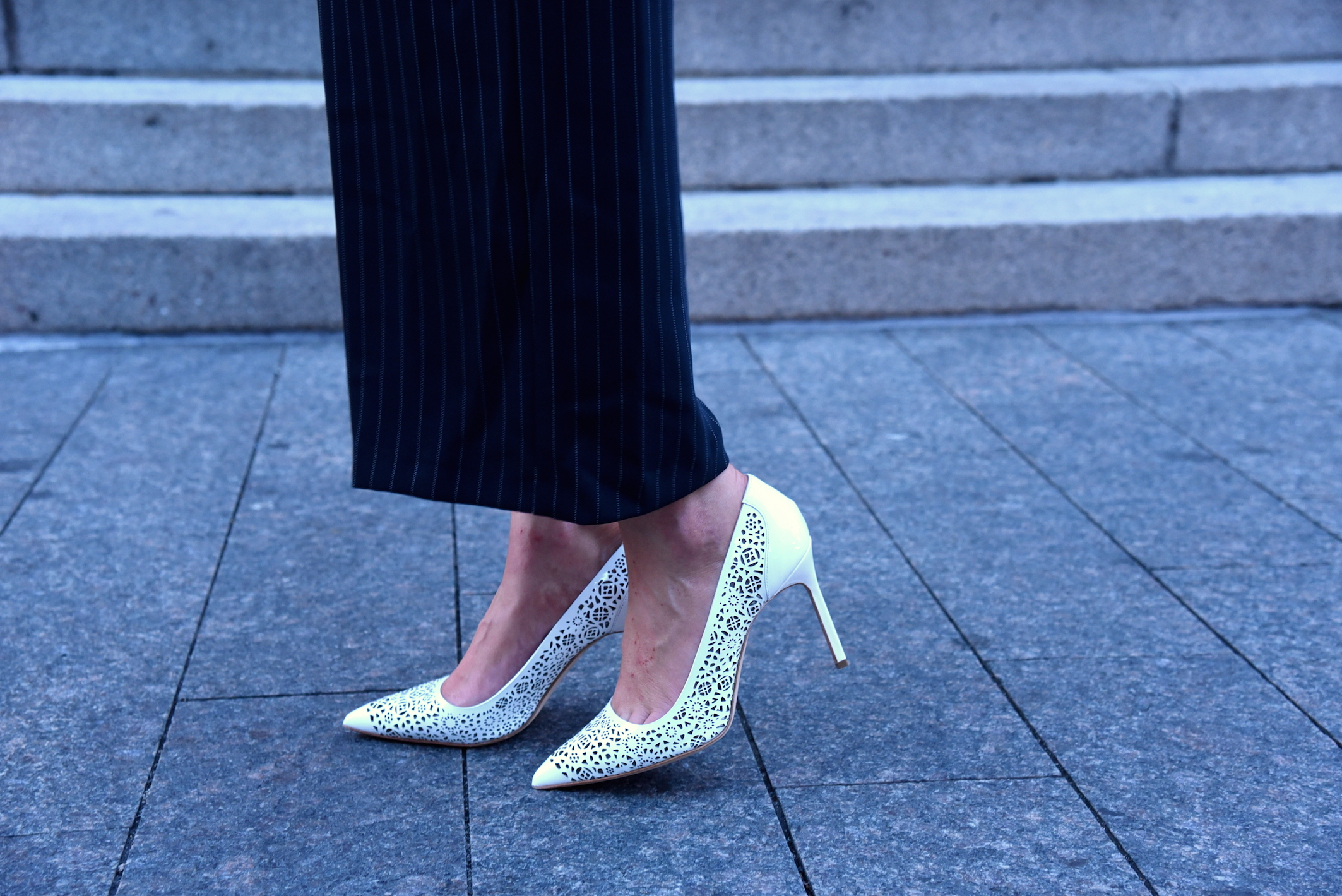 Manolo Blahnik White laser cut pumps