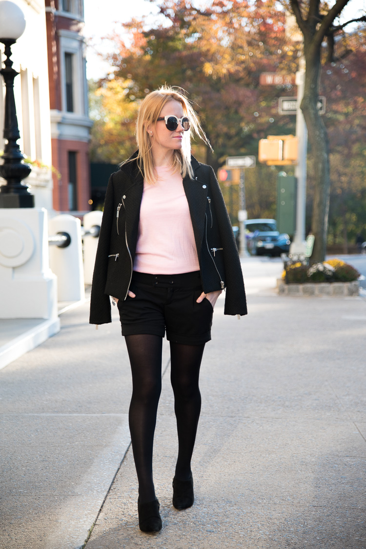 NYC Fashion Blogger Fall Outfit Pink sweater mybigapplecity