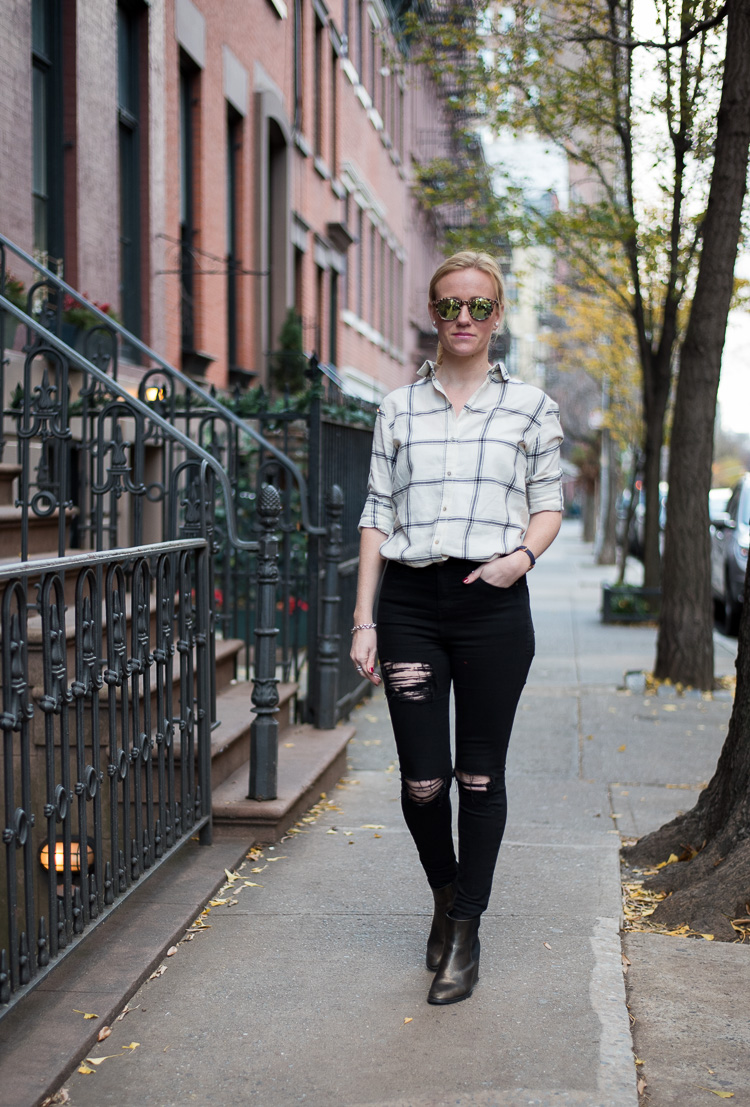 fashion blogger nyc outfit flannel shirt