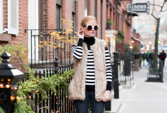 Stripes and faux fur in NYC OOTD Fashion blog mybigapplecity