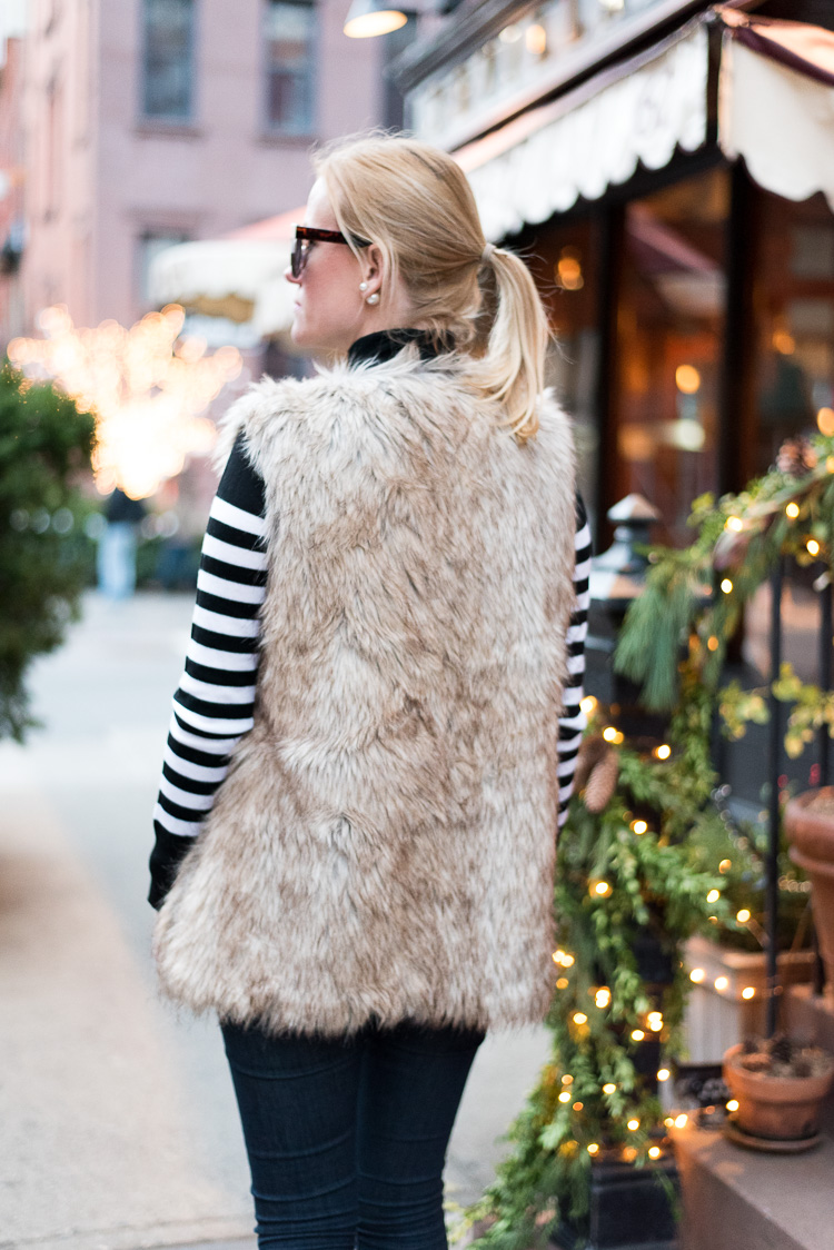 Faux fur vest in New York Fashion blogger OOTD