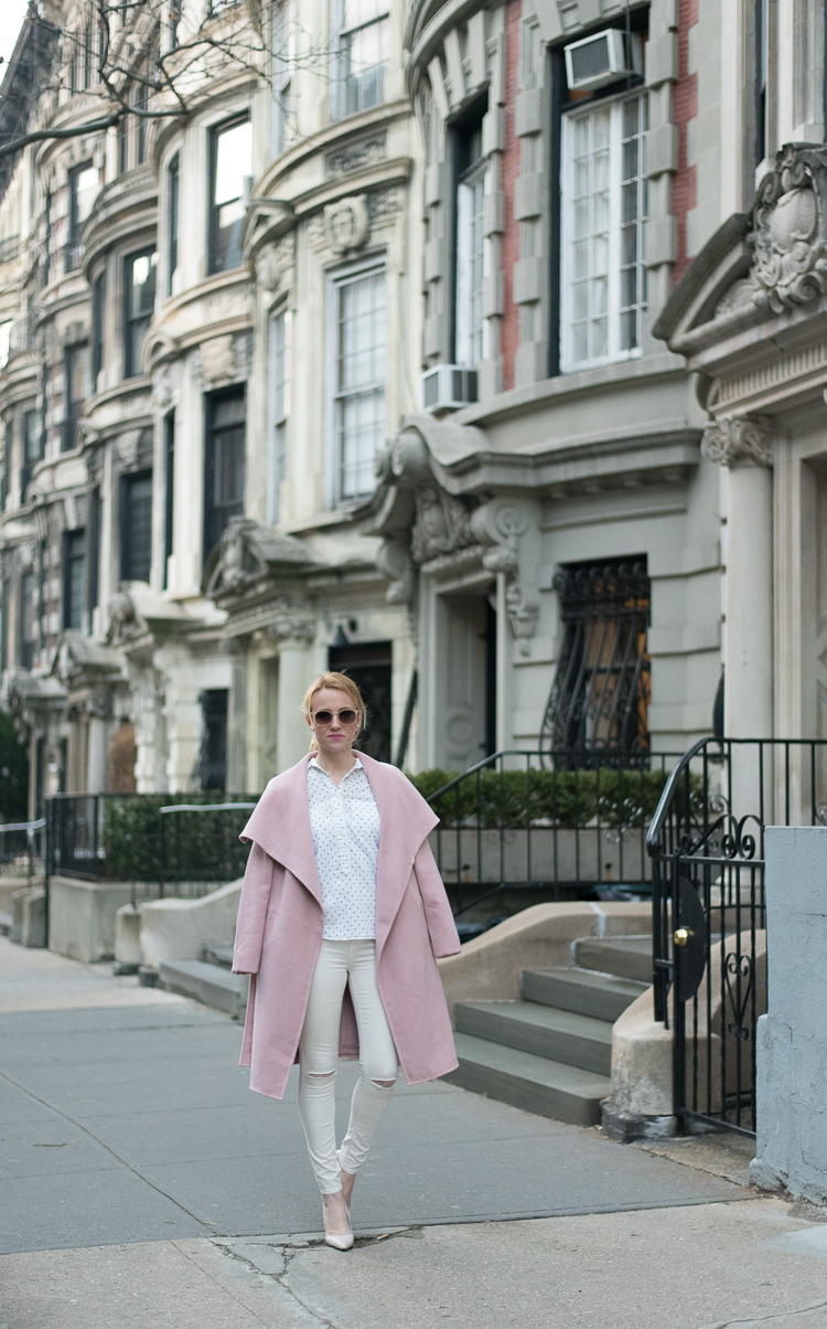 NYC Fashion blogger 2017 pink coat OOTD
