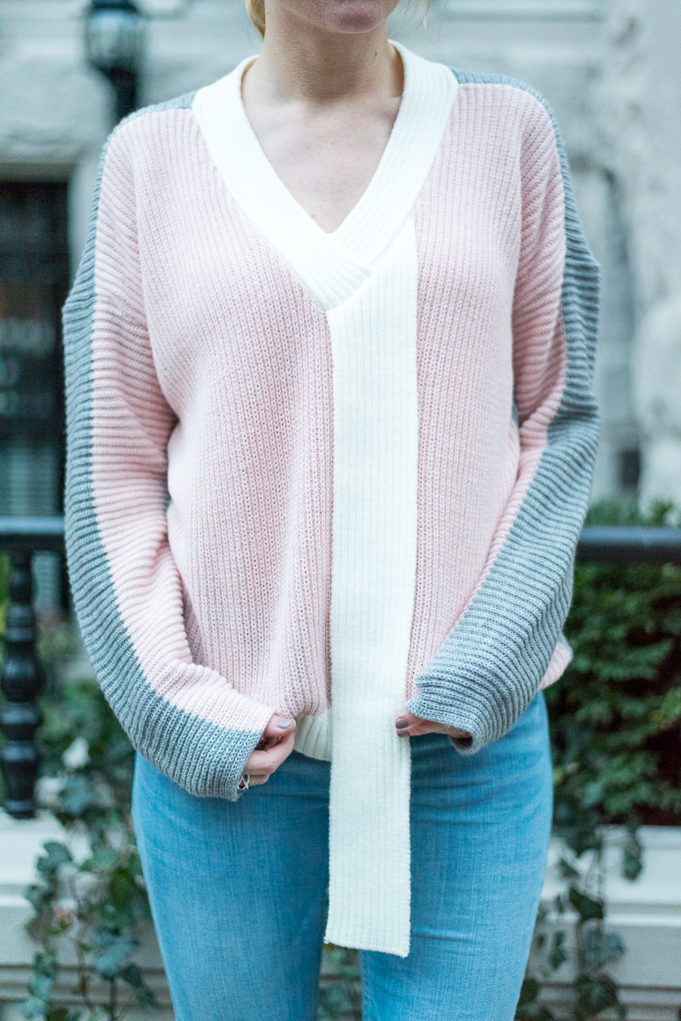Asos colorblock spring sweater shopping fashion blog
