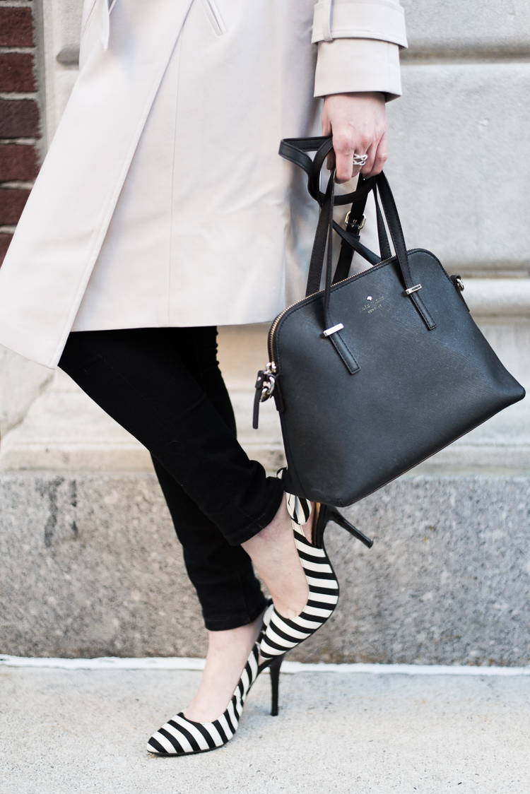 Black and white stripe shoes NYC Fashion blog